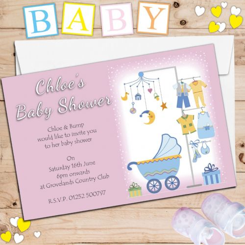 10 Personalised Pink Girl Baby Shower Party Invitations N5